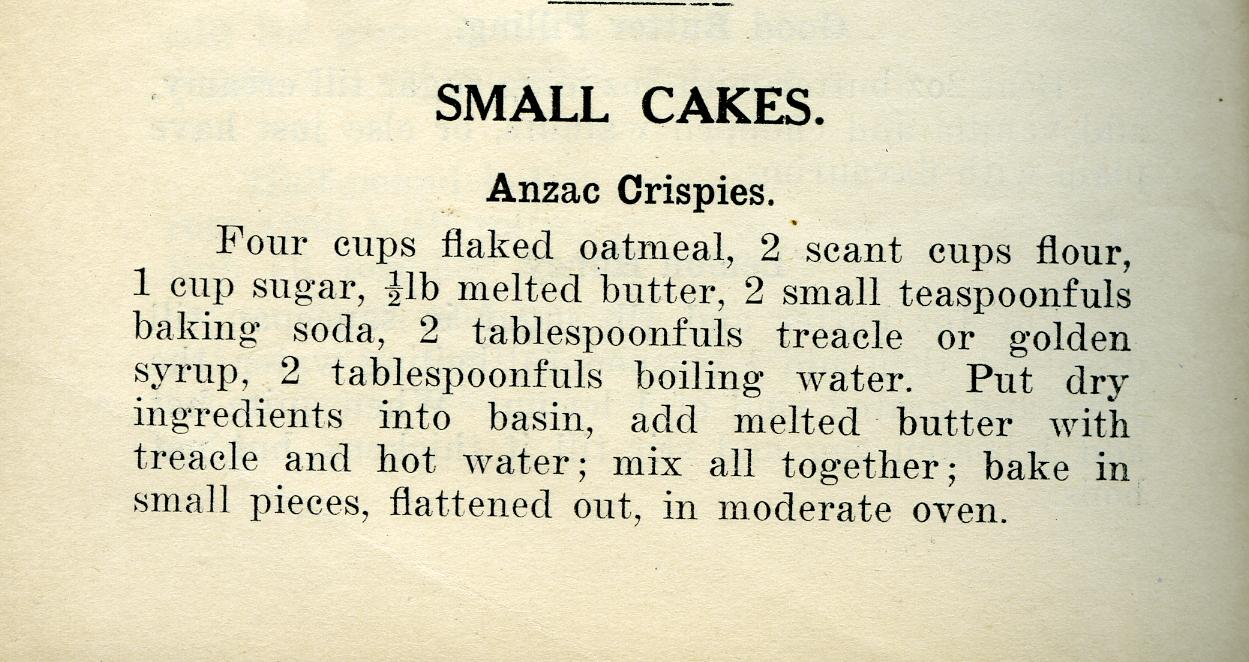 Anzac Biscuit, Original Anzac Biscuit recipe, St Andrews Cookery Book 1919