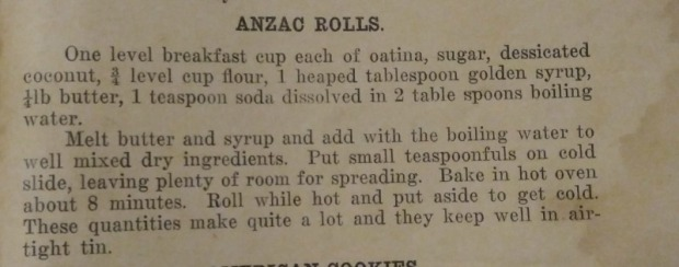 Anzac Biscuit, old Anzac Biscuit recipe, 1930s recipes