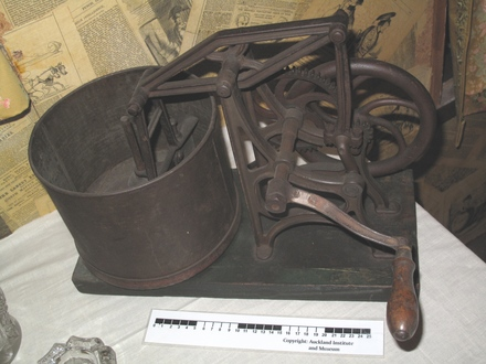 Cast iron food chopper, held by Auckland Museum